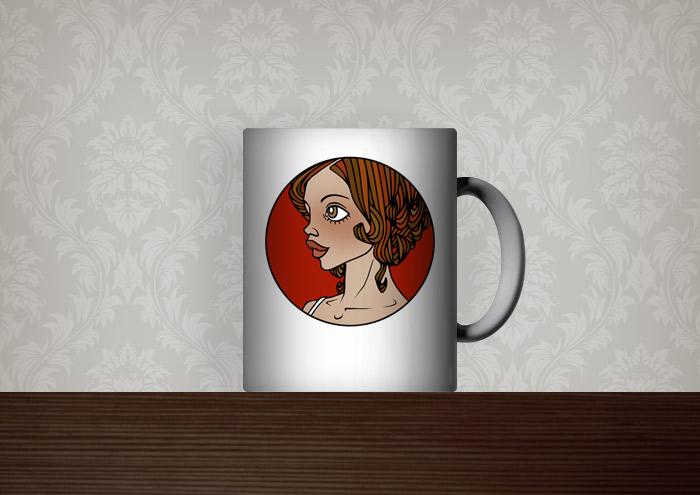 Kaffeetassen-Aufdruck Gracie als Vignette mit Frauenportrait auf Rot von Iris Luckhaus