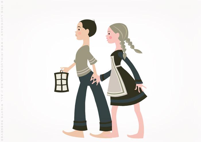 Vektorillustration zu Grimms Märchen mit Hänsel und Gretel und einer Laterne