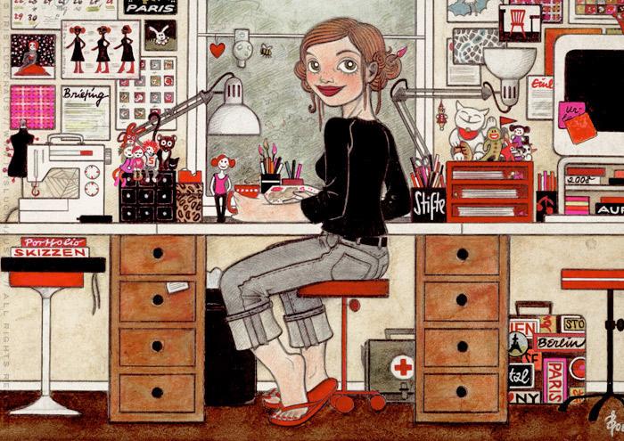 Detail aus dem handgezeichneten und handgemalten Selbstportrait Heimat von Iris Luckhaus bei der Arbeit im Büro für das IO-Skizzenbuch Meine Welt
