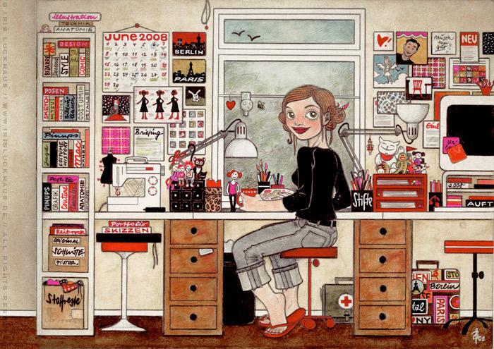 Handgezeichnetes und handgemaltes Selbstportrait Heimat von Iris Luckhaus bei der Arbeit im Büro für das IO-Skizzenbuch Meine Welt