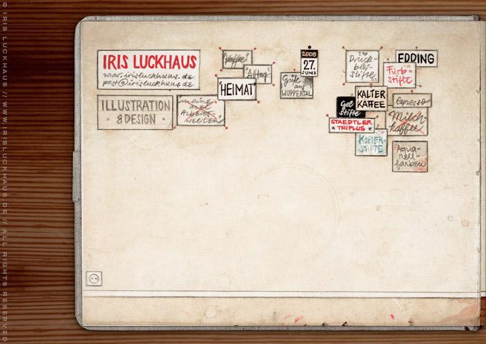 Anlage mit Proben von Bleistift, Kaffee, Finleiner und weiteren verwendeten Materialien zum handgezeichneten Selbstportrait Heimat für das IO-Skizzenbuch Meine Welt