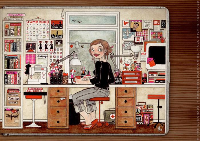 Handgezeichnetes und handgemaltes Selbstportrait Heimat von Iris Luckhaus bei der Arbeit im Büro in Wuppertal im IO-Skizzenbuch Meine Welt