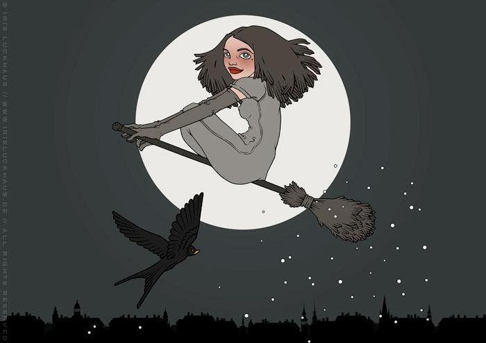 Illustration Hexenstunde mit einer mädchenhaften Hexe, die auf einem Besen und von einer Schwalbe begleitet vor dem Vollmond durch den Nachthimmel fliegt