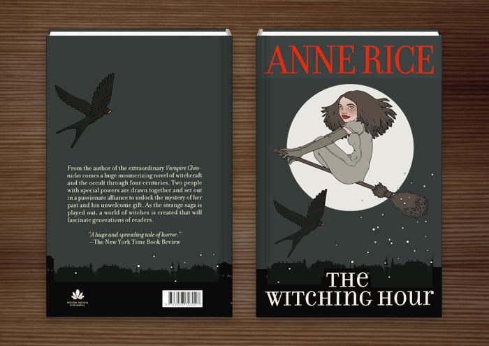 Buchumschlag Hexenstunde mit einer mädchenhaften Hexe, die auf einem Besen und von einer Schwalbe begleitet vor dem Vollmond durch den Nachthimmel fliegt