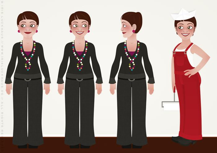 Characterdesign mit Vektorillustrationen von Frauen, die als Handwerkerinnen Wohnungen renovieren und anstreichen, für Homestaging