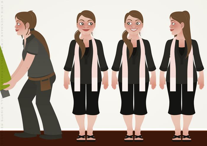 Characterdesign mit Vektorillustrationen von Frauen, die als Handwerkerinnen Wohnungen renovieren, für Homestaging