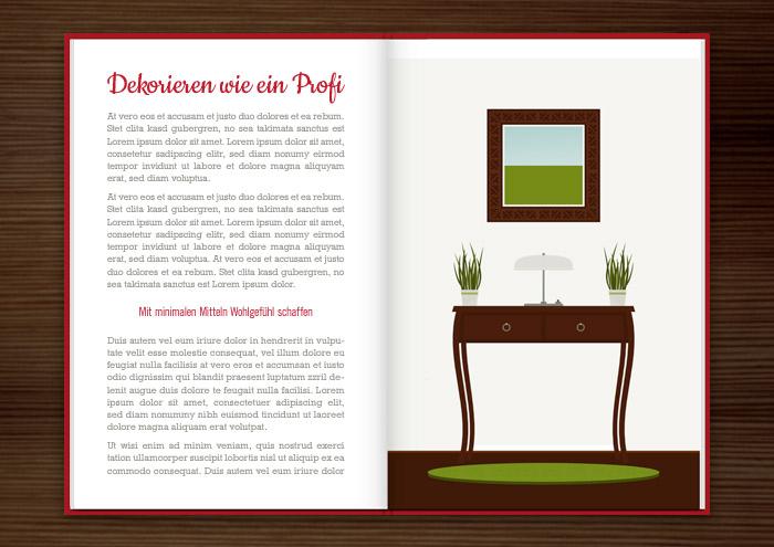 Seite aus dem Homestaging Buch mit Vektorillustrationen von Einrichtungen und Dekorationen