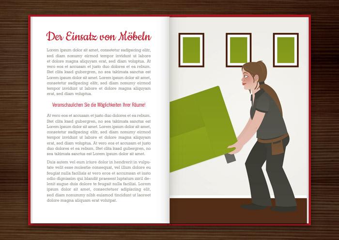 Seite aus dem Homestaging Buch mit Vektorillustrationen von Frauen, die als Handwerkerinnen Wohnungen einrichten
