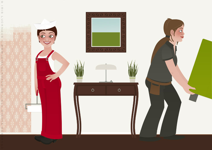 Characterdesign mit Vektorillustrationen von Frauen, die als Handwerkerinnen Wohnungen renovieren, anstreichen und einrichten, für Homestaging