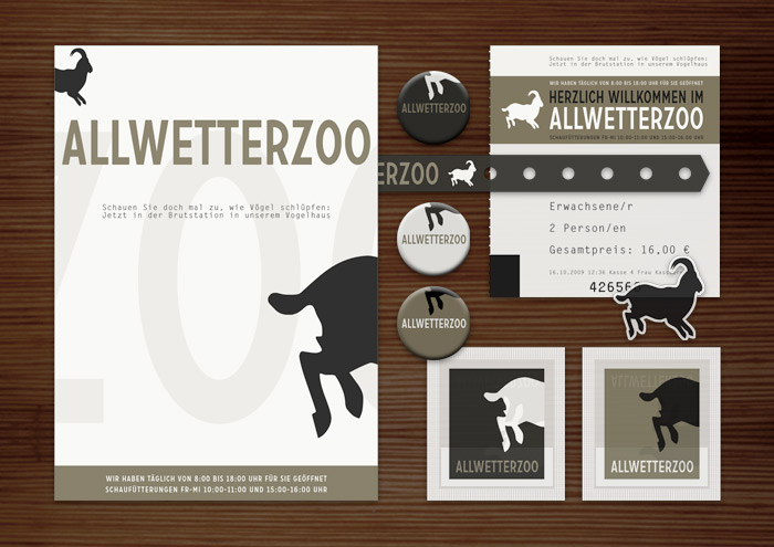 Corporate Identity, Logo und Grafik Design mit Steinbock für Poster, Karten, Flyer, Aufkleber, Eintrittskarten und Buttons für Lily Lux Tierpark Allwetter Zoo