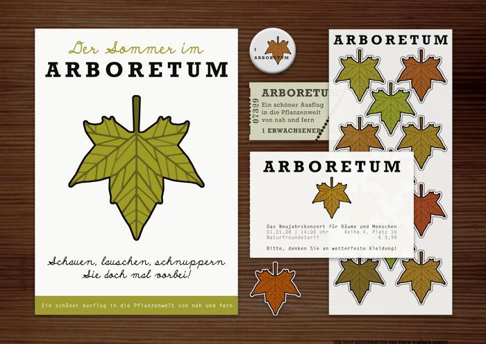 Corporate Identity, Logo und Grafik Design mit Blatt für Werbung, Schilder, Poster, Postkarten, Flyer, Aufkleber, Eintrittskarten und Buttons für Lily Lux Arboretum