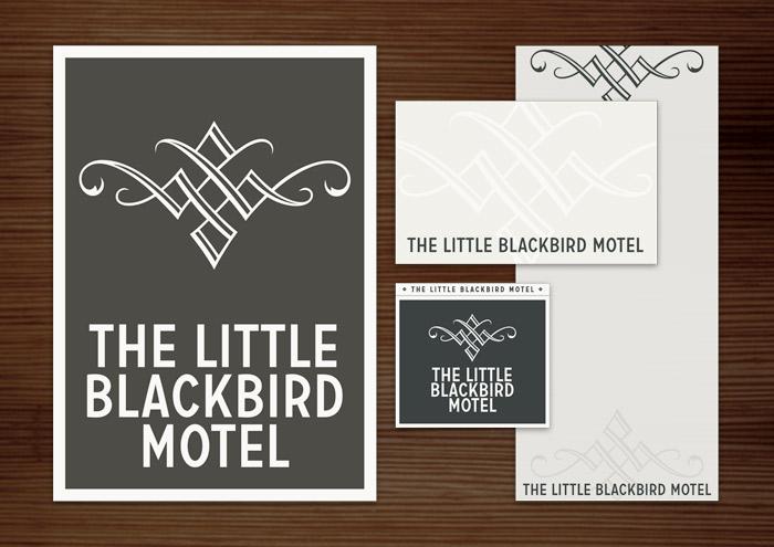 Corporate Identity, Logo und Grafik Design für Werbung, Schilder, Poster, Postkarten, Flyer, Notizblock, Visitenkarten, Streichholzbriefchen und Buttons für Lily Lux Blackbird Motel