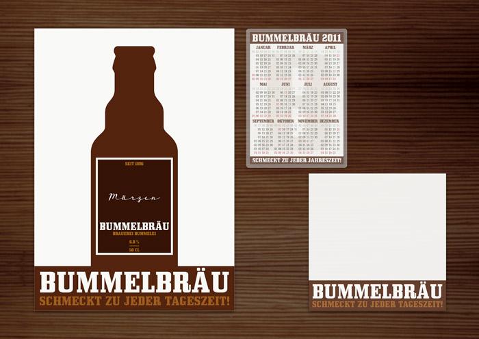 Corporate Identity, Logo und Grafik Design für Werbung, Verpackung, Poster, Etikett, Kalender und Notizblock für Lily Lux Bummelbräu Bier