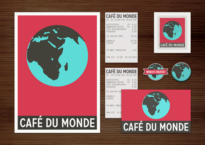 Corporate Identity, Logo und Grafik Design für Werbung, Schilder, Poster, Postkarten, Flyer, Aufkleber, Zuckertütchen und Buttons mit Globus für Lily Lux Café du Monde