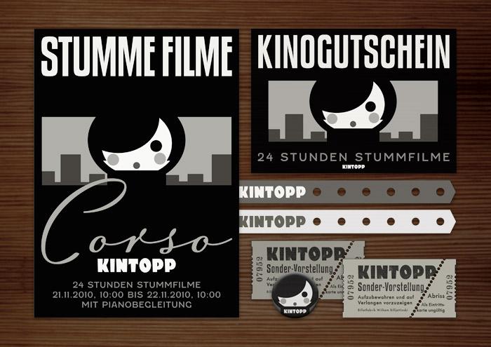 Corporate Identity, Logo und Grafik Design für Werbung, Schilder, Poster, Postkarten, Flyer, Aufkleber, Eintrittskarten und Buttons mit Stummfilmstar für den Stummfilmabend in Lily Lux Corso Kino