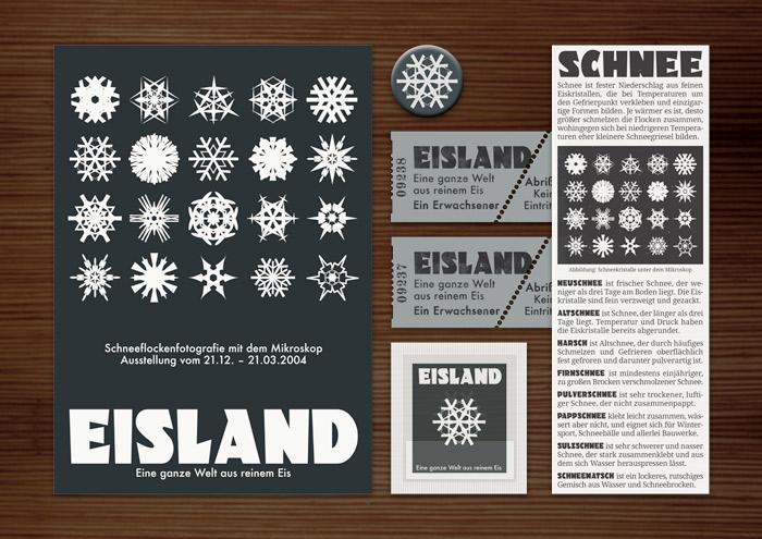 Corporate Identity, Logo und Grafik Design mit Schneeflocken für Werbung, Schilder, Poster, Postkarten, Flyer, Aufkleber, Eintrittskarten und Buttons für Lily Lux Ausstellung Eisland im Naturkundemuseum