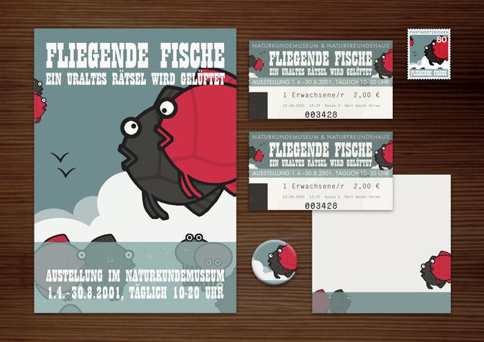 CorpCorporate Identity, Logo und Grafik Design für Werbung, Schilder, Poster, Postkarten, Flyer, Eintrittskarten und Buttons für die Ausstellung Fliegende Fische in Lily Lux Naturkundemuseum