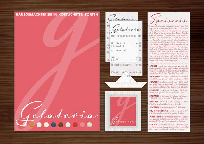 Corporate Identity, Logo und Grafik Design für Werbung, Schilder, Poster, Postkarten, Flyer, Aufkleber, Zuckertütchen und Buttons mit G für Lily Lux Eisdiele Gelateria