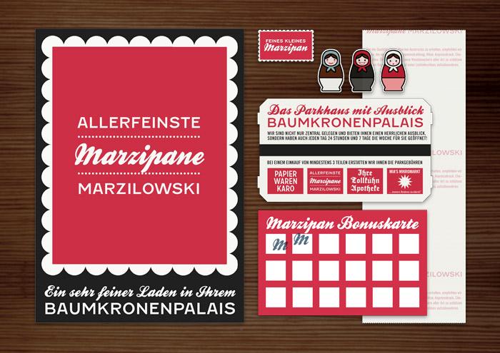 Corporate Identity, Logo und Grafik Design für Werbung, Verpackung, Poster, Rabattkarte und Parkschein für Lily Lux Marzipan