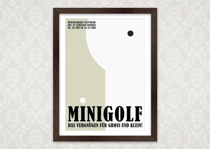 Poster mit Minigolfbahn für Lily Lux Minigolfplatz