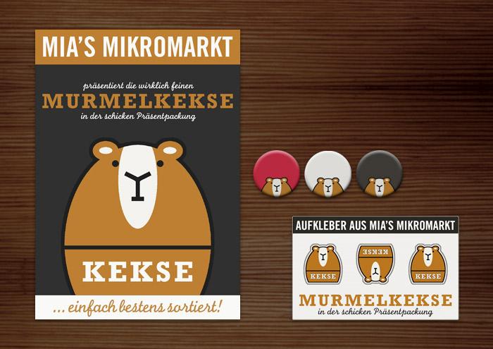 Corporate Identity, Logo und Grafik Design für Werbung, Verpackung, Poster, Buttons und Aufkleber mit Murmeltier für Lily Lux Kekse