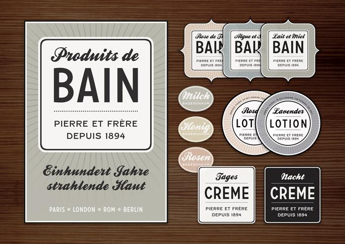 Corporate Identity, Logo und Grafik Design im Retro-Look für Werbung, Plakat, Etiketten und Aufkleber für Lily Lux Kosmetiketiketten