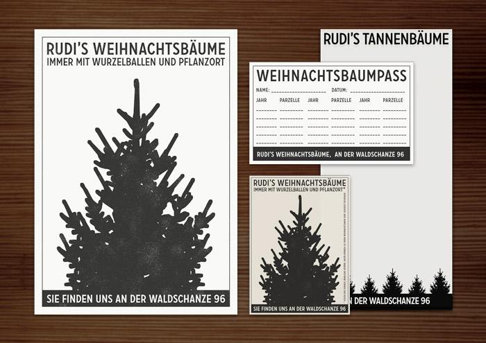 Corporate Identity, Logo und Grafik Design mit Weihnachtsbaum für Werbung, Poster, Flyer, Vistenkarte, Anzeige, Kärtchen und Notizzettel für Lily Lux Weihnachtsbaumverkauf