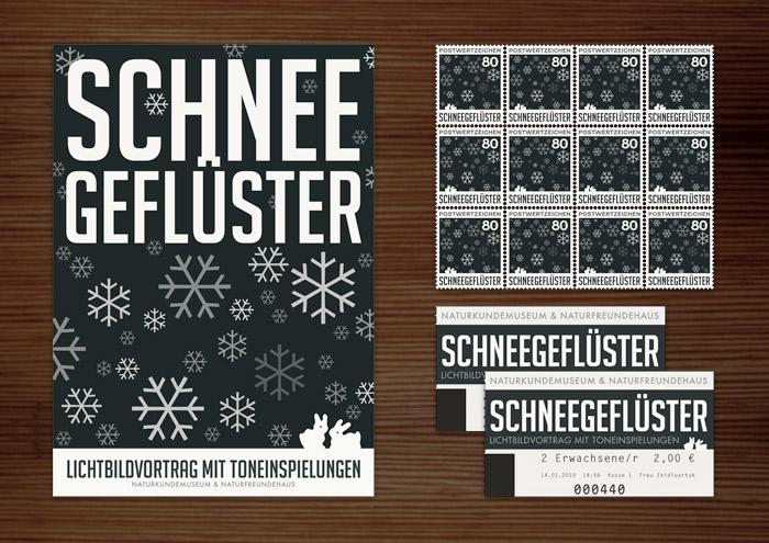 Corporate Identity, Logo und Grafik Design für Werbung, Schilder, Poster, Postkarten, Flyer, Eintrittskarten und Buttons für die Ausstellung Schneegeflüster in Lily Lux Naturkundemuseum