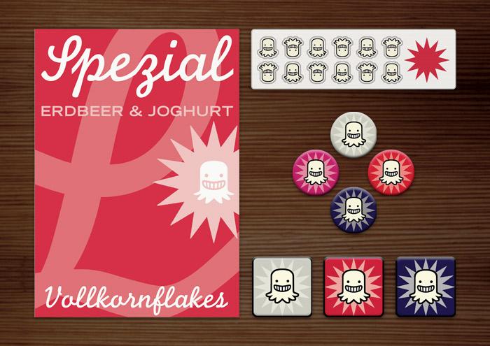 Corporate Identity, Logo und Grafik Design für Werbung, Verpackung, Poster, Aufkleber, Buttons und Magnete mit L und Geistchen für Lily Lux Spezial Cornflakes