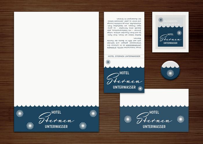 Corporate Identity, Logo und Grafik Design für Werbung, Schilder, Poster, Postkarten, Flyer, Notizblock, Visitenkarten, Streichholzbriefchen und Buttons mit Sternchen für Lily Lux Sternen Hotel
