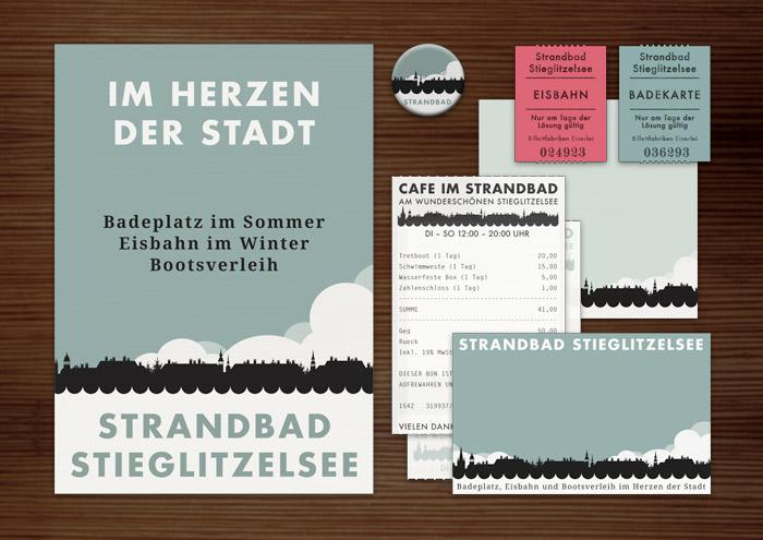 Corporate Identity, Logo und Grafik Design mit Skyline für Werbung, Schilder, Poster, Postkarten, Flyer, Aufkleber, Eintrittskarten und Buttons für Lily Lux Strandbad