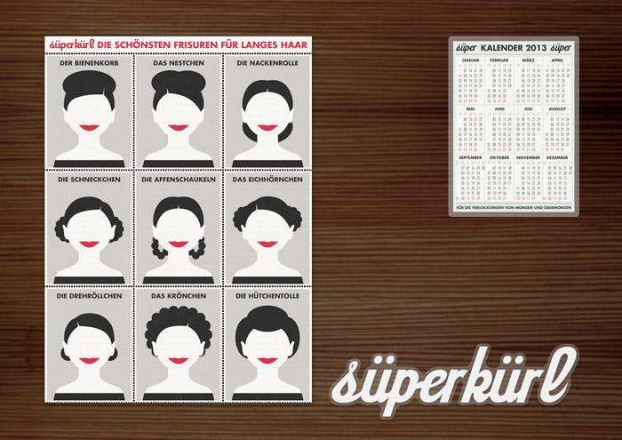 Corporate Identity, Logo und Grafik Design mit Frisuren für Werbung, Flyer, Aufkleber und Kalender für Lily Lux Süperkürl Stylingprodukte fürs Haar