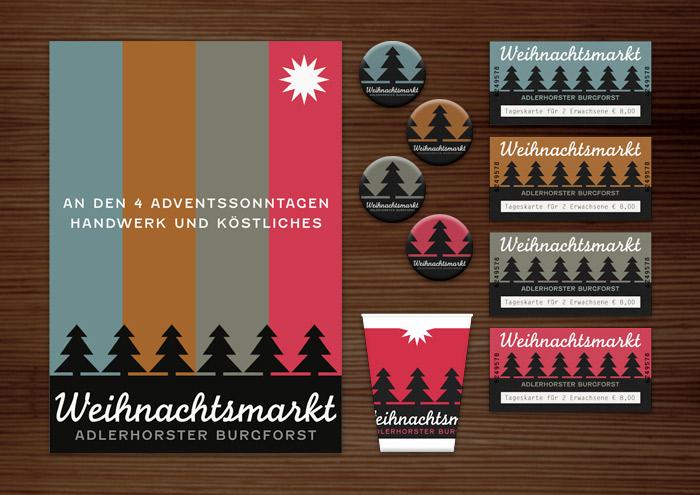 Corporate Identity, Logo und Grafik Design für Werbung, Schilder, Poster, Postkarten, Flyer, Aufkleber, Eintrittskarten, Trinkbecher und Buttons mit Tannenbäumen für Lily Lux Weihnachtsmarkt