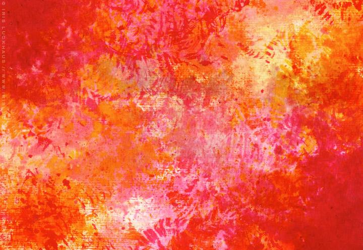 Gemalte und getupfte Hintergründe für Grußkarten mit Aquarell-Strukturen in Rot und Orange für Intergreeting
