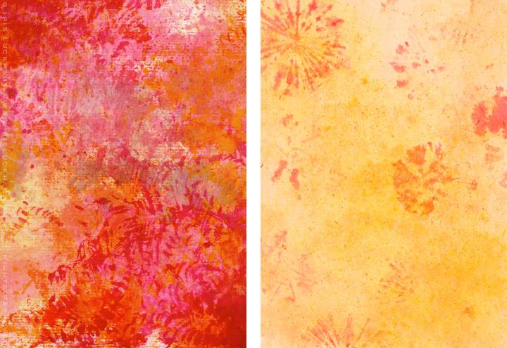 Gemalte und getupfte Hintergründe für Grußkarten mit Aquarell-Strukturen in Rot und Gelborange für Intergreeting