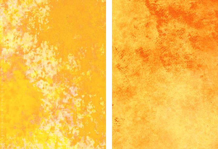 Gemalte und getupfte Hintergründe für Grußkarten mit Aquarell-Strukturen in Orange und Gelborange für Intergreeting