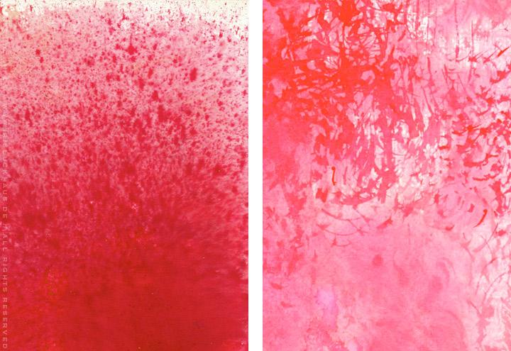 Gemalte und getupfte Hintergründe für Grußkarten mit Aquarell-Strukturen in Rot und Rosa für Intergreeting
