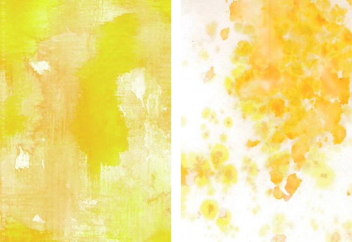 Gemalte und getupfte Hintergründe für Grußkarten mit Aquarell-Strukturen in Gelb und Weiß für Intergreeting