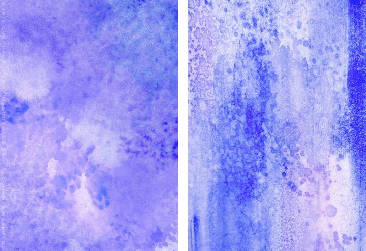 Gemalte und getupfte Hintergründe für Grußkarten mit Aquarell-Strukturen in Blau ind Violett für Intergreeting