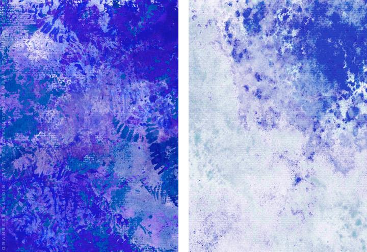Gemalte und getupfte Hintergründe für Grußkarten mit Aquarell-Strukturen in Blau für Intergreeting