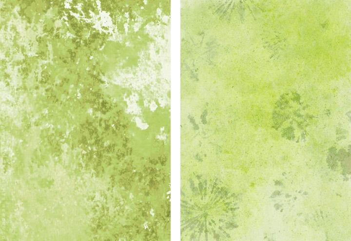 Gemalte und getupfte Hintergründe für Grußkarten mit Aquarell-Strukturen in Grün für Intergreeting