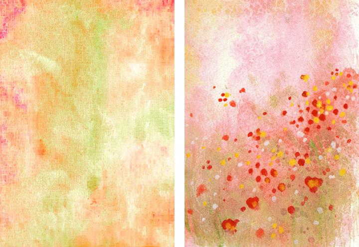 Gemalte und getupfte Hintergründe für Grußkarten mit Aquarell-Strukturen und Wiesenblumen für Intergreeting