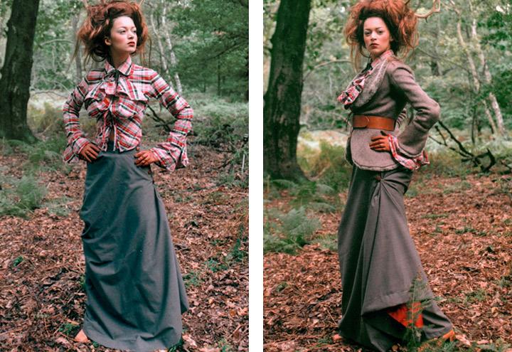 Outfit Falkenluder mit Bluse, Reitrock, Jacke und Geweih aus der Jagdfieber Mode Kollektion nach historischer Frauenjagdkleidung und der Kleidung von Jägerinnen zur Jagd