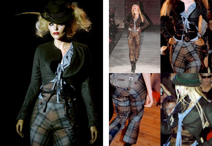 Outfit Federspiel bei Modenschauen der Jagdfieber Mode Kollektion nach historischer Frauenjagdkleidung und der Kleidung von Jägerinnen zur Jagd von Iris Luckhaus