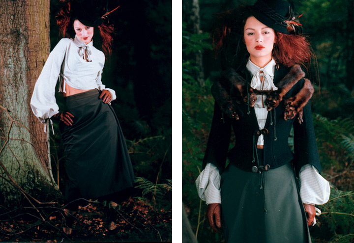 Outfit Märzhase mit Bluse, Reitrock, Jacke und Hut aus der Jagdfieber Mode Kollektion nach historischer Frauenjagdkleidung und der Kleidung von Jägerinnen zur Jagd von Iris Luckhaus