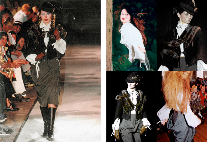 Outfit Märzhase bei Modenschauen der Jagdfieber Mode Kollektion nach historischer Frauenjagdkleidung und der Kleidung von Jägerinnen zur Jagd von Iris Luckhaus