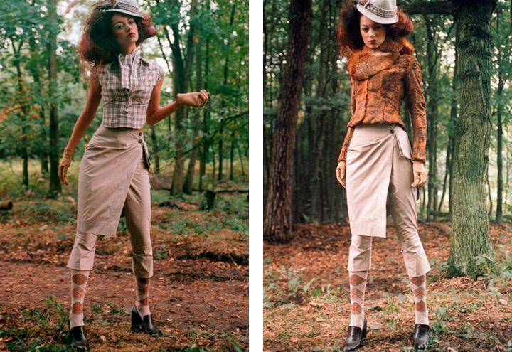 Outfit Rotfuchs mit Bluse, Hose, Reitrock, Frack und Hut aus der Jagdfieber Mode Kollektion nach historischer Frauenjagdkleidung und der Kleidung von Jägerinnen zur Jagd