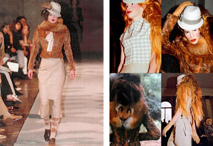 Outfit Rotfuchs bei Modenschauen der Jagdfieber Mode Kollektion nach historischer Frauenjagdkleidung und der Kleidung von Jägerinnen zur Jagd von Iris Luckhaus