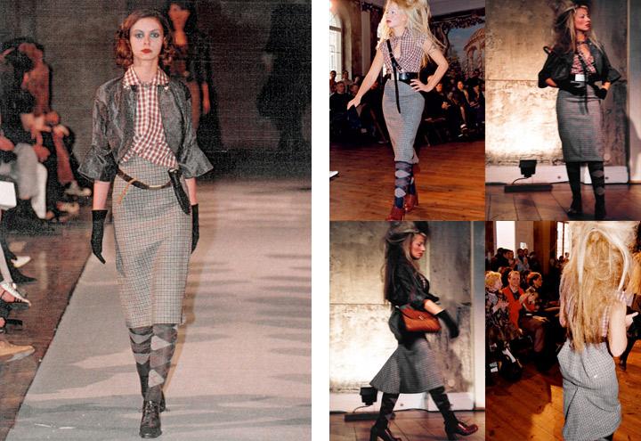 Outfit Charivari bei Modenschauen der Jagdfieber Mode Kollektion nach historischer Frauenjagdkleidung und der Kleidung von Jägerinnen zur Jagd von Iris Luckhaus