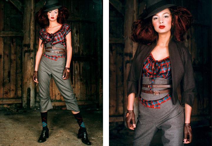 Outfit Jagdgigerl mit Bluse, Kniehose, Waspie, Jacke und Hut aus der Jagdfieber Mode Kollektion nach historischer Frauenjagdkleidung und der Kleidung von Jägerinnen zur Jagd von Iris Luckhaus